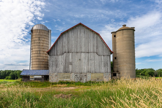 White Barn with Two Silos