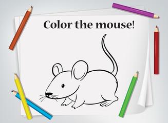 Foto op Textielframe Kids Children mouse coloring worksheet