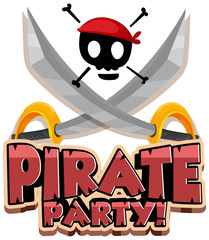 Aluminium Prints Kids Font design for word pirate party with swords and skull