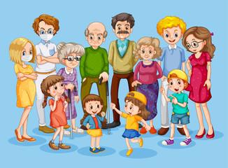 Foto op Textielframe Kids Set of family member