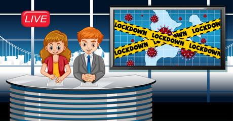 Foto op Textielframe Kids Coronavirus poster design with newsreporter live in studio