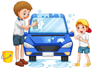 Father and son washing car on white background