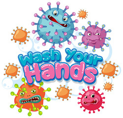 Garden Poster Kids Coronavirus poster design with word wash your hands
