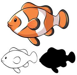 Canvas Prints Fairytale World Set of clownfish cartoon