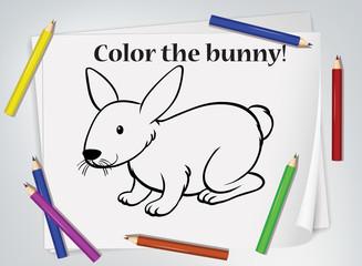 Foto op Textielframe Kids Children bunny coloring worksheet