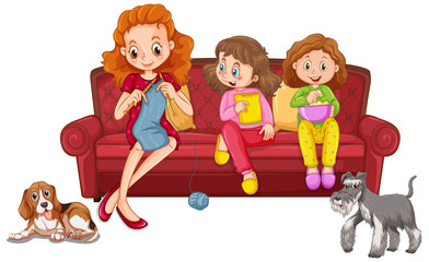 Two girls eating snack and mother knitting on the sofa