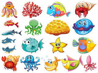 Foto op Aluminium Kids Large set of many sea creatures on white background