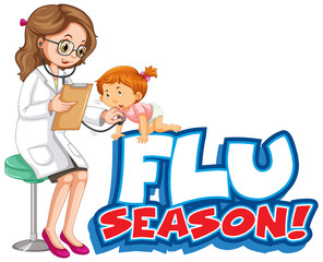 Font design for word flu season with doctor and girl