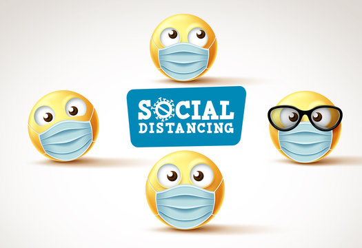 Smiley emoji social distance with face mask vector signage. Emojis or emoticons with face mask warning sign to fight covid-19 corona virus. Vector illustration.