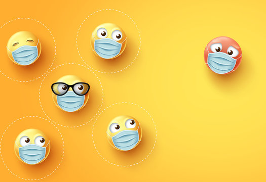 Smiley emojis social distancing vector background. Emoji and emoticon wearing face mask with social distance to fight covid-19 corona virus. Vector illustration.