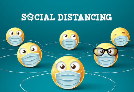 Smiley emoticon social distancing with face mask vector sign. Social distance of smileys or emoji with face mask to fight 2019-ncov corona virus. Vector illustration.