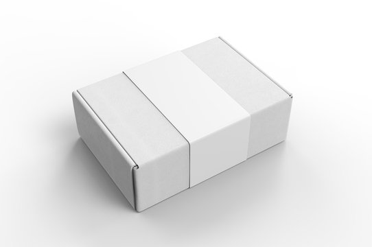 Blank Tuck In Flap Packaging Paper Box For Branding With paper label sleeve, 3d render illustration.