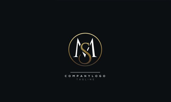 MS SM M S Letter Logo Design Icon Vector Symbol