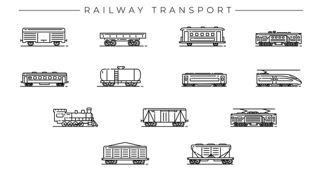 Railway Transport concept line style vector icons set.