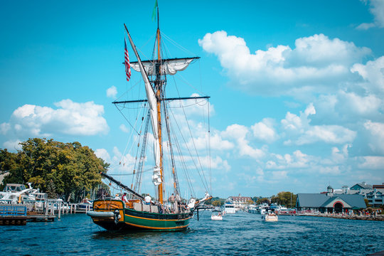 Tall ship setting sail from South Haven Michigan's harbor