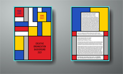 Tribute to Mondrian and De Stijl, vector layout A4 format modern cover design for background, brochure, flyer, notebook
