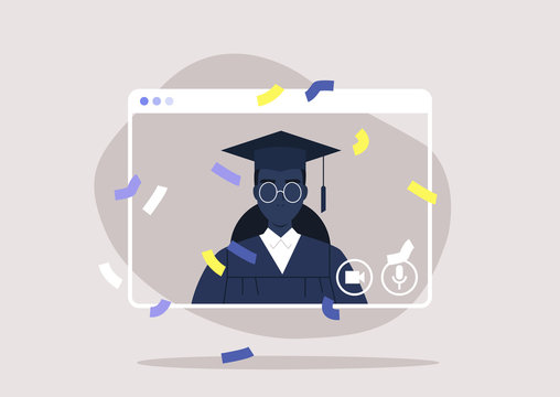 social distancing, online education, self isolated black female student attending a Graduation 2020 ceremony via video call