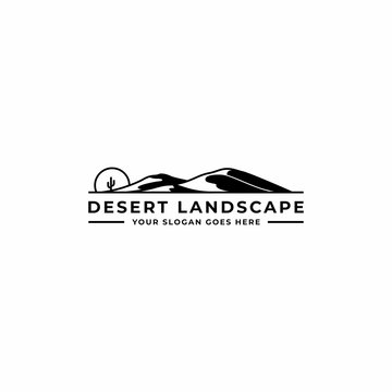 desert logo design inspiration with sunset or sunrise and cactus silhouettes