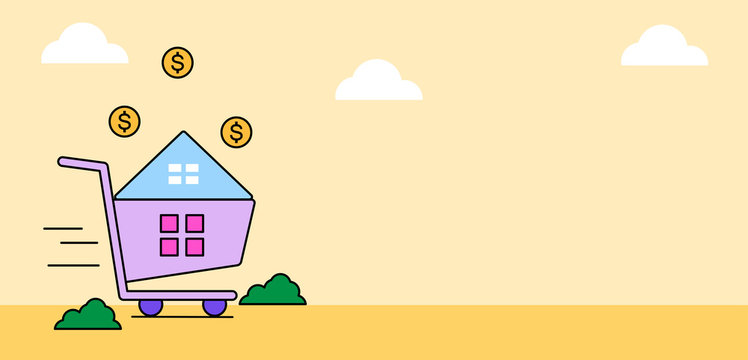 Cartoon cute concept shopping at home with space for your text. Vector illustration.