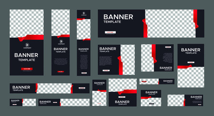 set of modern black banners of standard size with a place for photos. Business ad banner. Vertical, horizontal and square template with gradient red color.