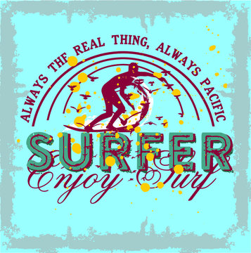 surfer print and embroidery graphic design vector art