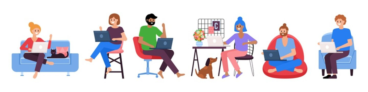 Working from home concept. Set of people working on laptop computer. Quarantine concept.