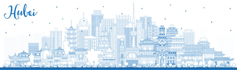 Wall Mural - Outline Hubei Province in China. City Skyline with Blue Buildings.