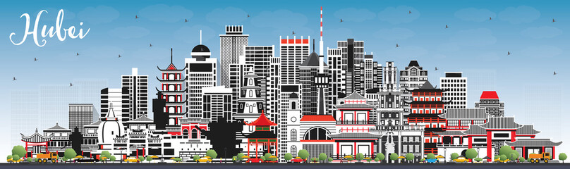Wall Mural - Hubei Province in China. City Skyline with Gray Buildings and Blue Sky.