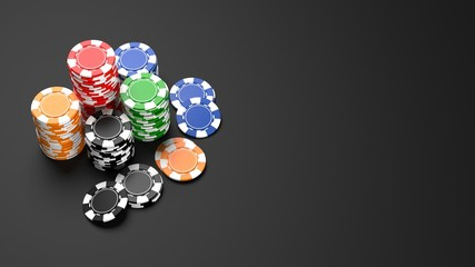 Stacks of colorful casino chips on black background. 3D illustration