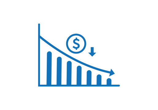 Dollar rate decrease vector line icon. Money symbol with down arrow. Lower cost icon. Financial crisis vector icon, Lower cost icon, Business lost crisis decrease vector illustration. Editable stroke.