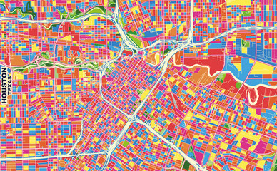 Houston, Texas, U.S.A., colorful vector map
