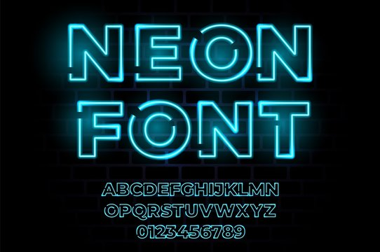 Neon lighy font. Vector glow typography realistic alphabet. Led lamp effect. Disco party fluorescent type