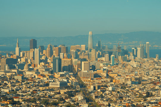 Aerial view of San Francisco financial district in California, USA