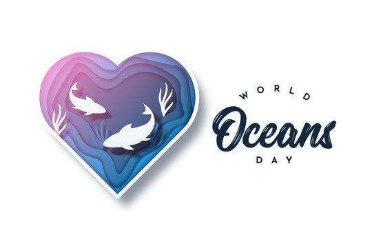 World Ocean Day illustration template design