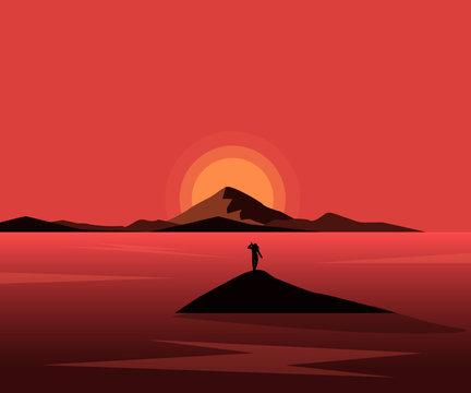sunset in the desert in Ocean fantasy landscape mountain
