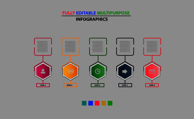 modern hexagonal infographic design template for business marketing medical education with five steps options