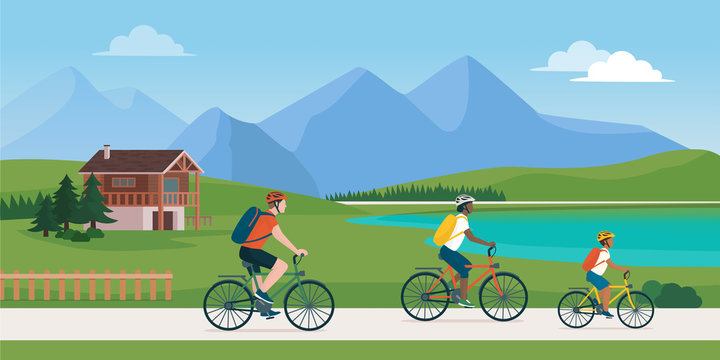 Happy family having a safe holiday cycling in nature