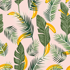 Wall Mural - Banana leaves seamless pink background