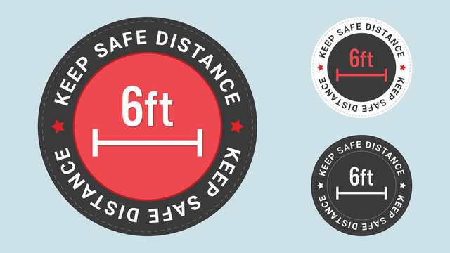 Keep Safe Distance stamp vector illustration. Safety distance advice against spreading coronavirus covid-19, 6 feet, Recommended social distance.  Vector combination for flat style certificate.
