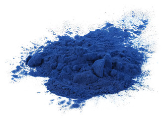 Blue spirulina powder isolated on white background