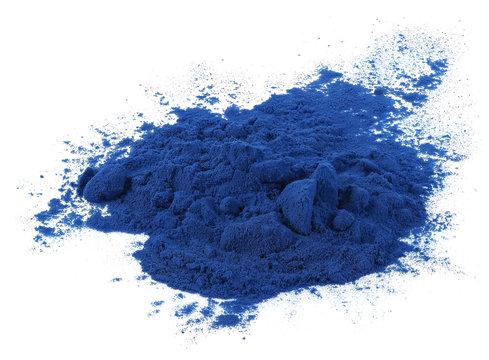 Blue spirulina powder isolated on white background