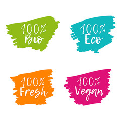 Wall Mural - Set of colorful food badges. 100% bio on white background.