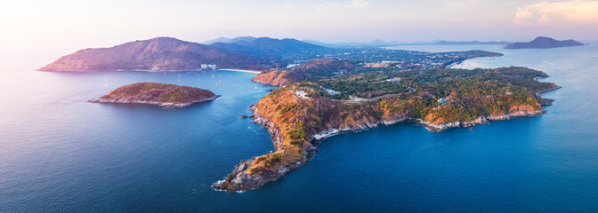 Fototapete - Aerial panorama of the southernmost tip of the island of Phuket - Promthep Cape, Thailand