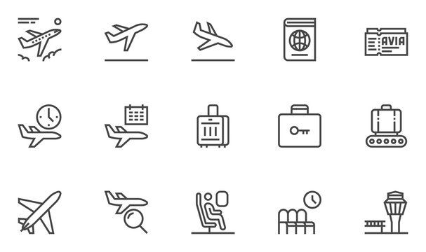Airport Vector Line Icons. Air Transportation, Air Travel, Tickets, Baggage Claim, Takeoff and Landing of Aircraft. Editable Stroke. 48x48 Pixel Perfect.