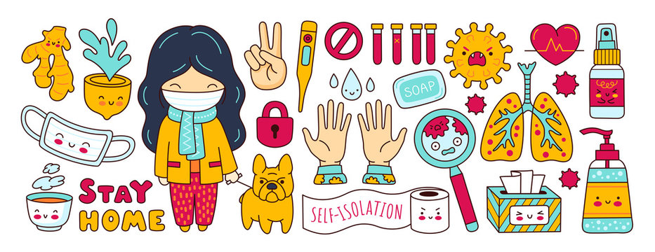 Coronavirus pandemic, covid-19. Set of stickers, elements, symbols, objects for quarantine and self isolation. Girl with dog, Medical mask, sanitizer, antiseptic, lungs. Cartoon vector illustrations.
