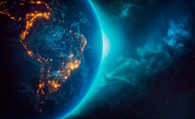 City lights of South America continent at night from outer space 3D rendering illustration. Earth map texture provided by Nasa. Energy consumption, electricty, industry, power supply, ecology concepts Wall mural