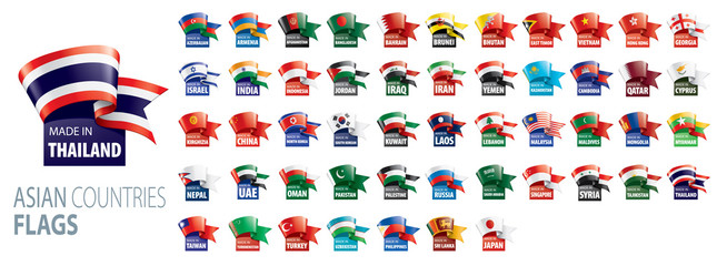 National flags of Asian countries. Vector illustrations Fototapete