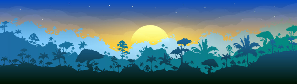 Jungle flat color vector illustration. Morning forest scenery. Panoramic woods at dawn. Tropical scenic nature with sun rising. Sunrise in rainforest 2D cartoon landscape with layers on background