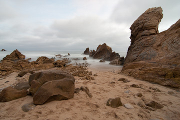 Keuken foto achterwand Rudnes Rock Formations By Sea Against Sky