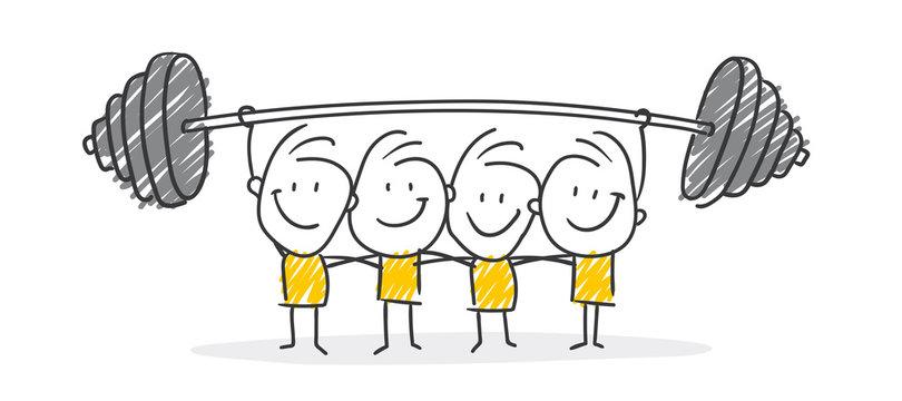 Strichfiguren / Strichmännchen: Teamwork, Gewicht. (Nr. 498)